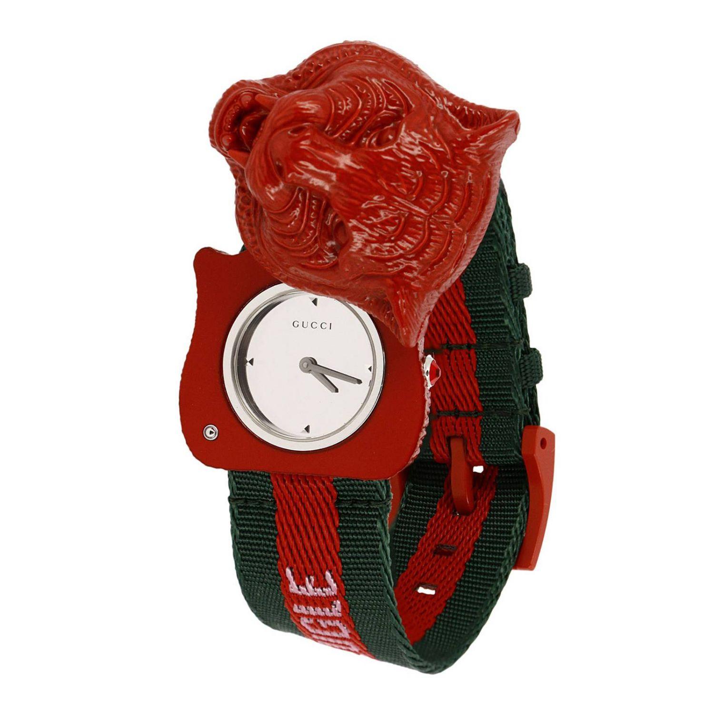 Orologio Le Marché des Merveilles cinturino Web e cassa Tiger da aprire rosso 2