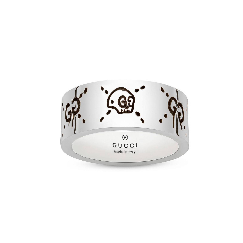 Ювелирное изделие Gucci: Кольцо Gucci Ghost 9 мм из серебра с отделкой Aureco серебряный 1