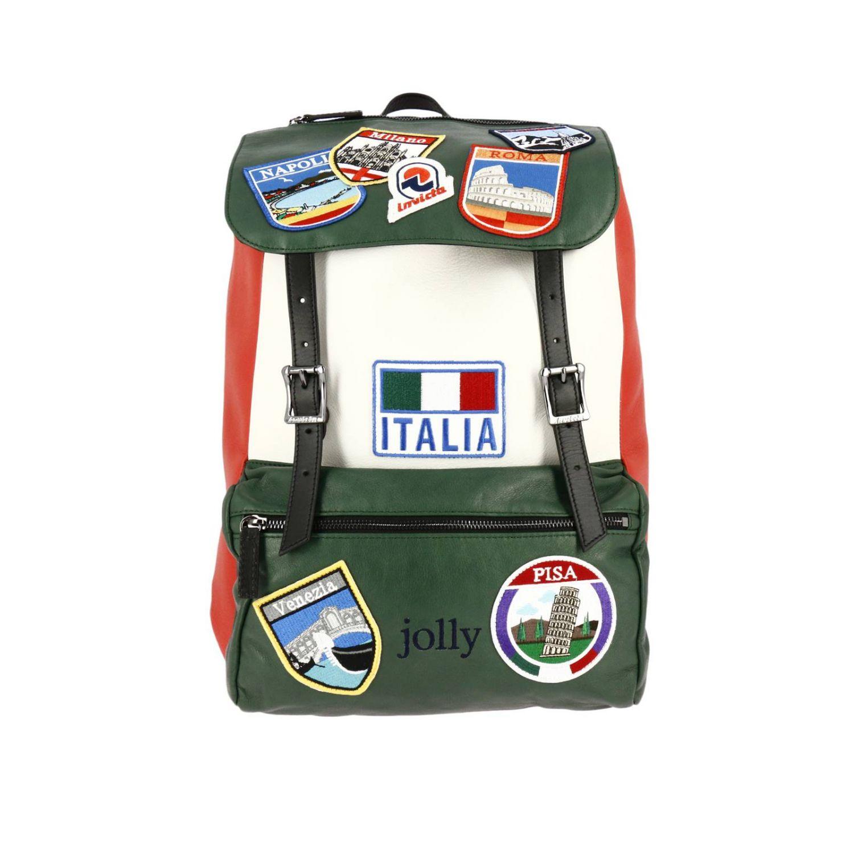 Zaino Invicta: Zaino My Jolly in pelle tricolor con maxi patch Italy verde 1