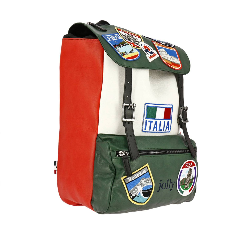 Zaino Invicta: Zaino My Jolly in pelle tricolor con maxi patch Italy verde 2