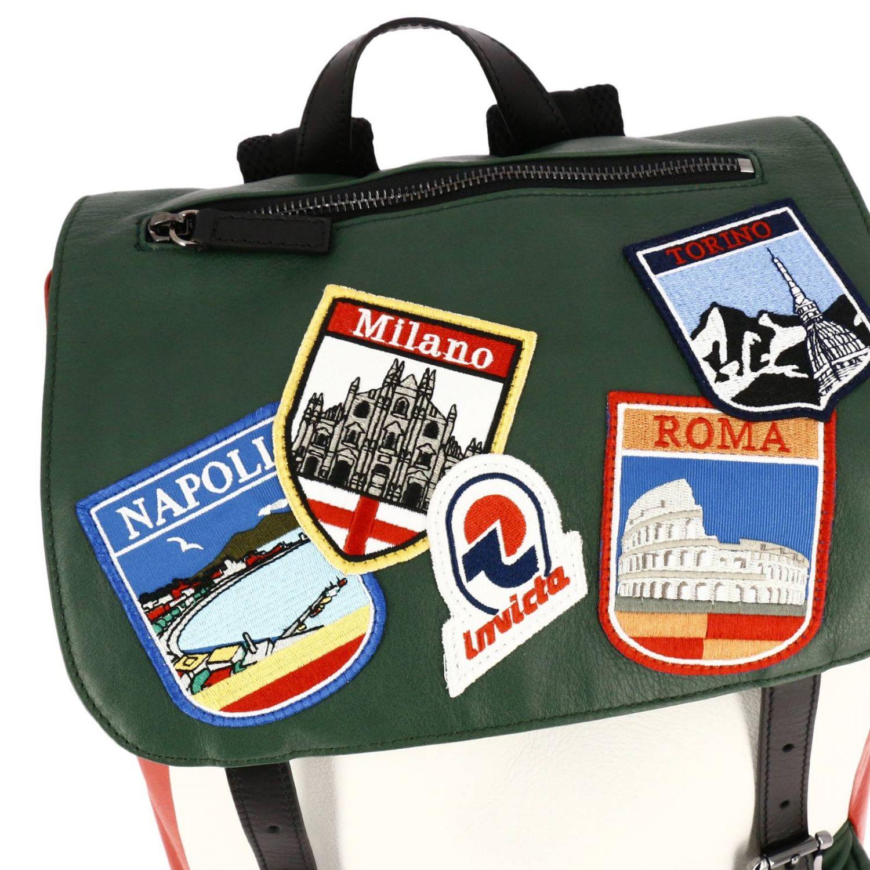 Zaino Invicta: Zaino My Jolly in pelle tricolor con maxi patch Italy verde 5