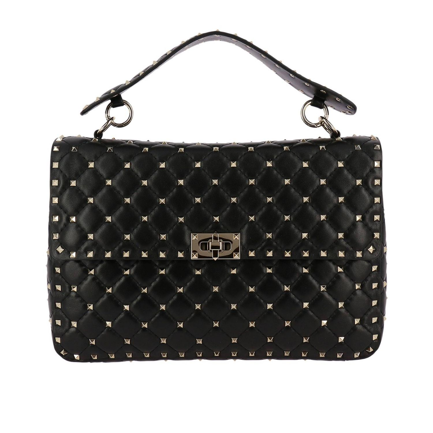 Handbag Valentino Rockstud Spike Large Bag In Genuine Leather With Micro Studs And Sliding Shoulder Strap 8286784