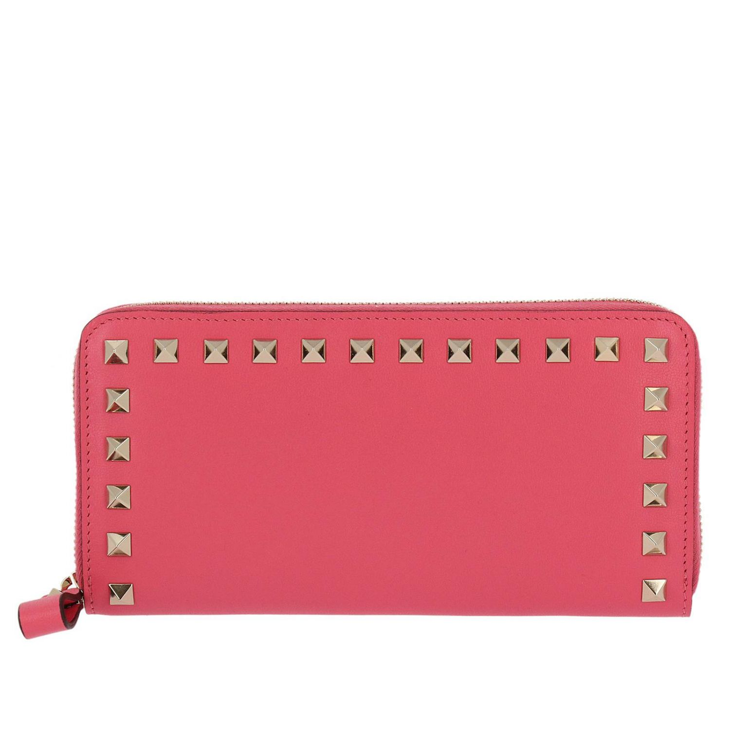 Wallet Valentino Rockstud Spike Continental Wallet With Zip Around And Studs Edges 8286827