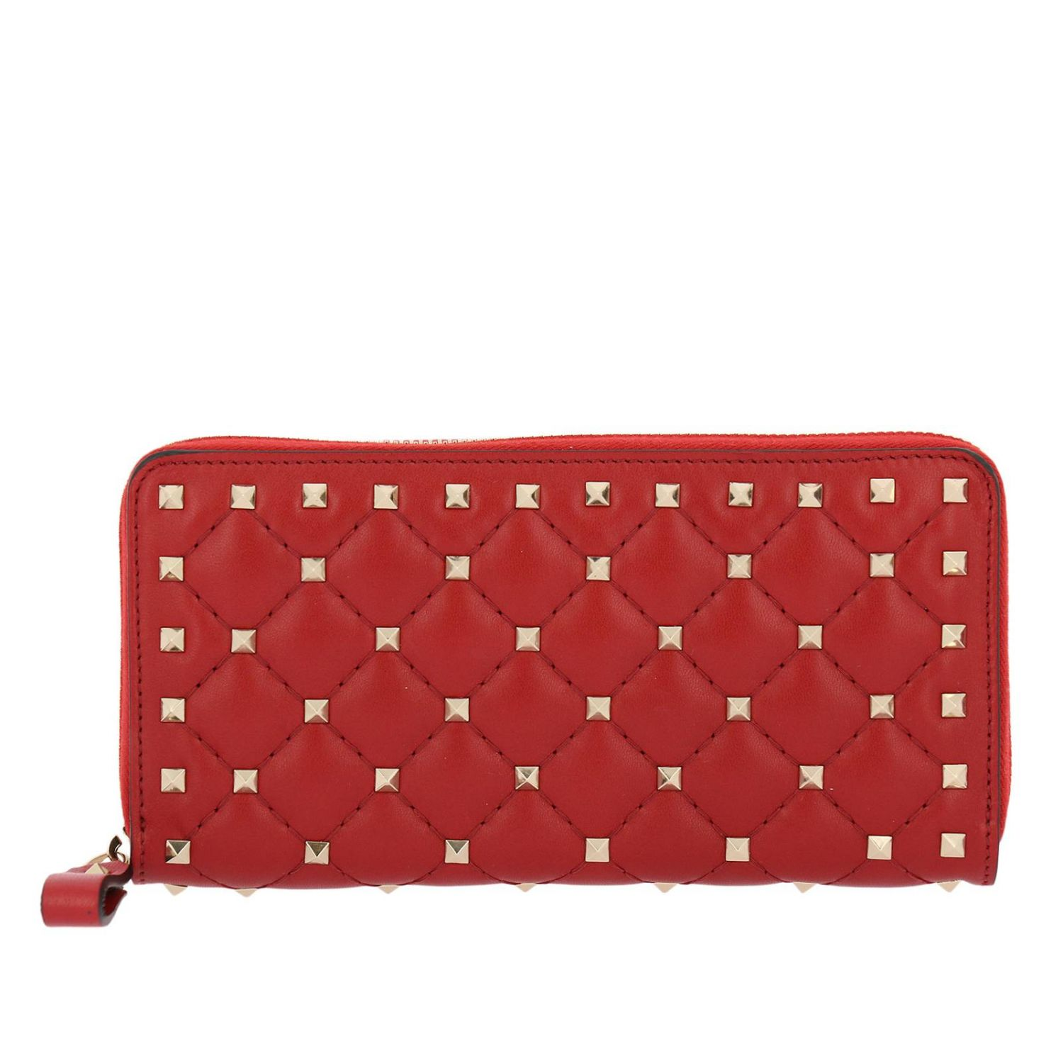 Wallet Valentino Rockstud Spike Zip Around Wallet In Quilted Leather With Metal Studs 8286842