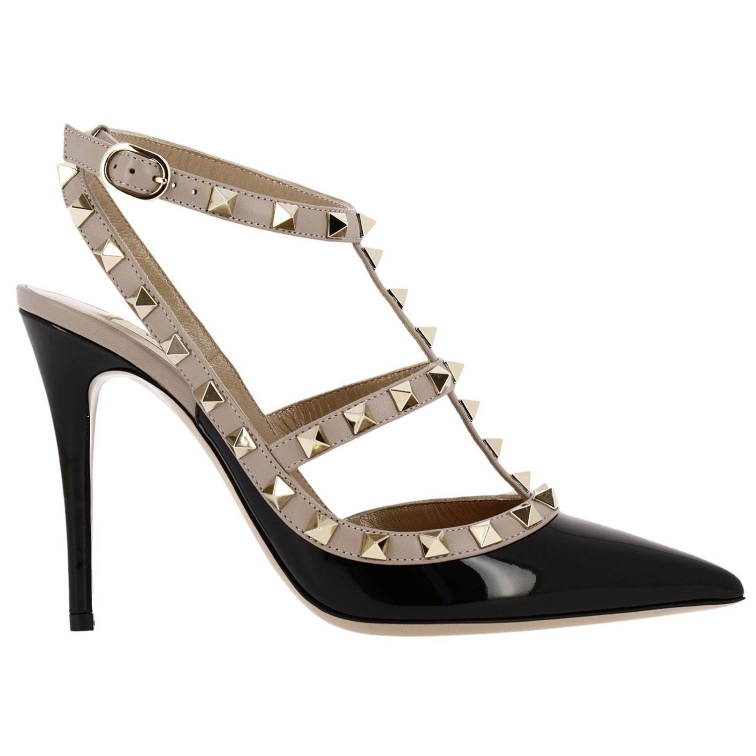 Pumps Valentino Rockstud Ankle Strap In Genuine Patent Leather With Micro Metal Studs 8286866