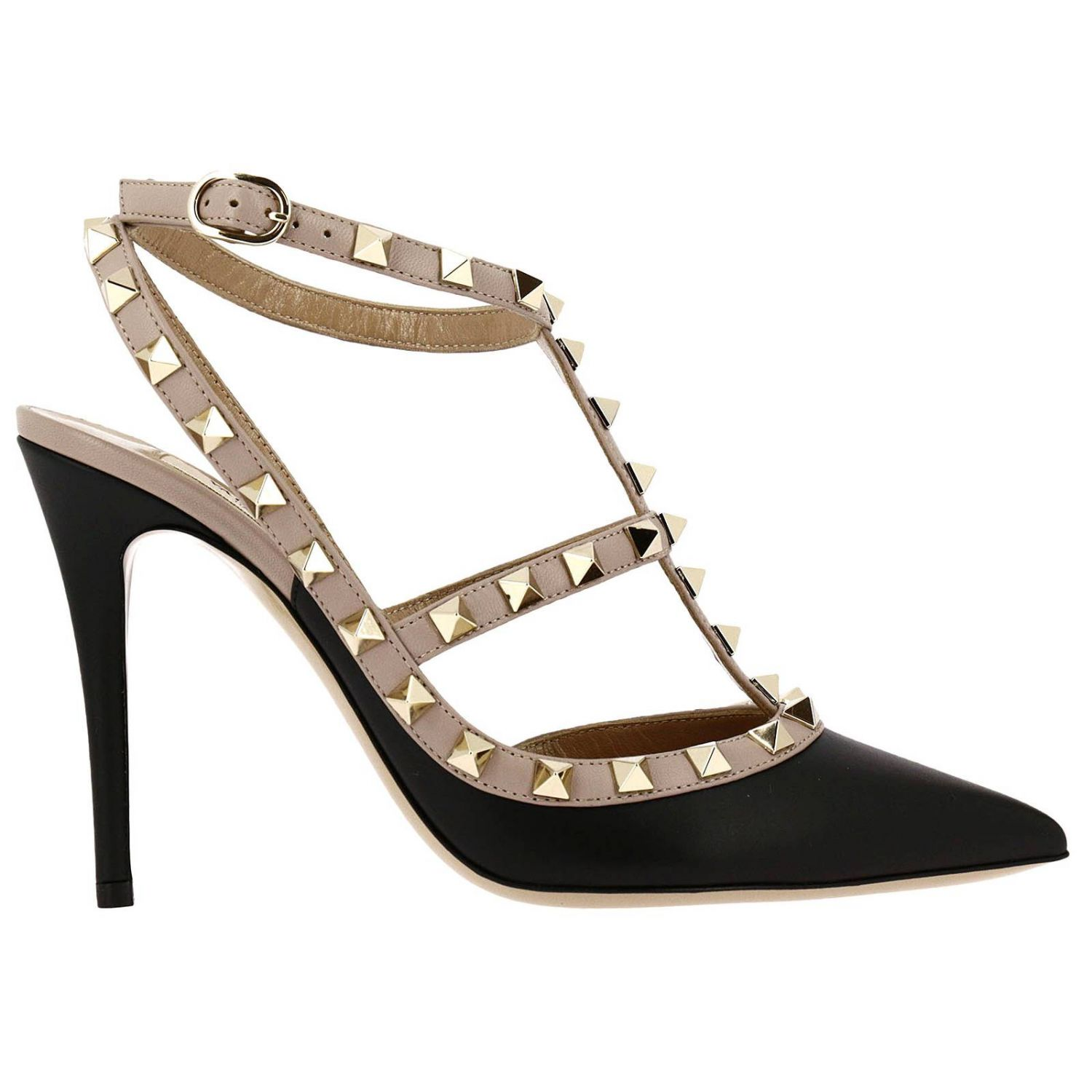 Pumps Valentino Rockstud Pumps Ankle Strap In Real Leather With Bicolor Pattern And Micro Studs 8331618