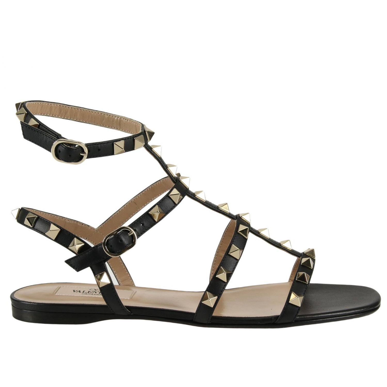 Flat Sandals Valentino Rockstud Low Sandals In Smooth Leather With Micro Metal Studs 8286946
