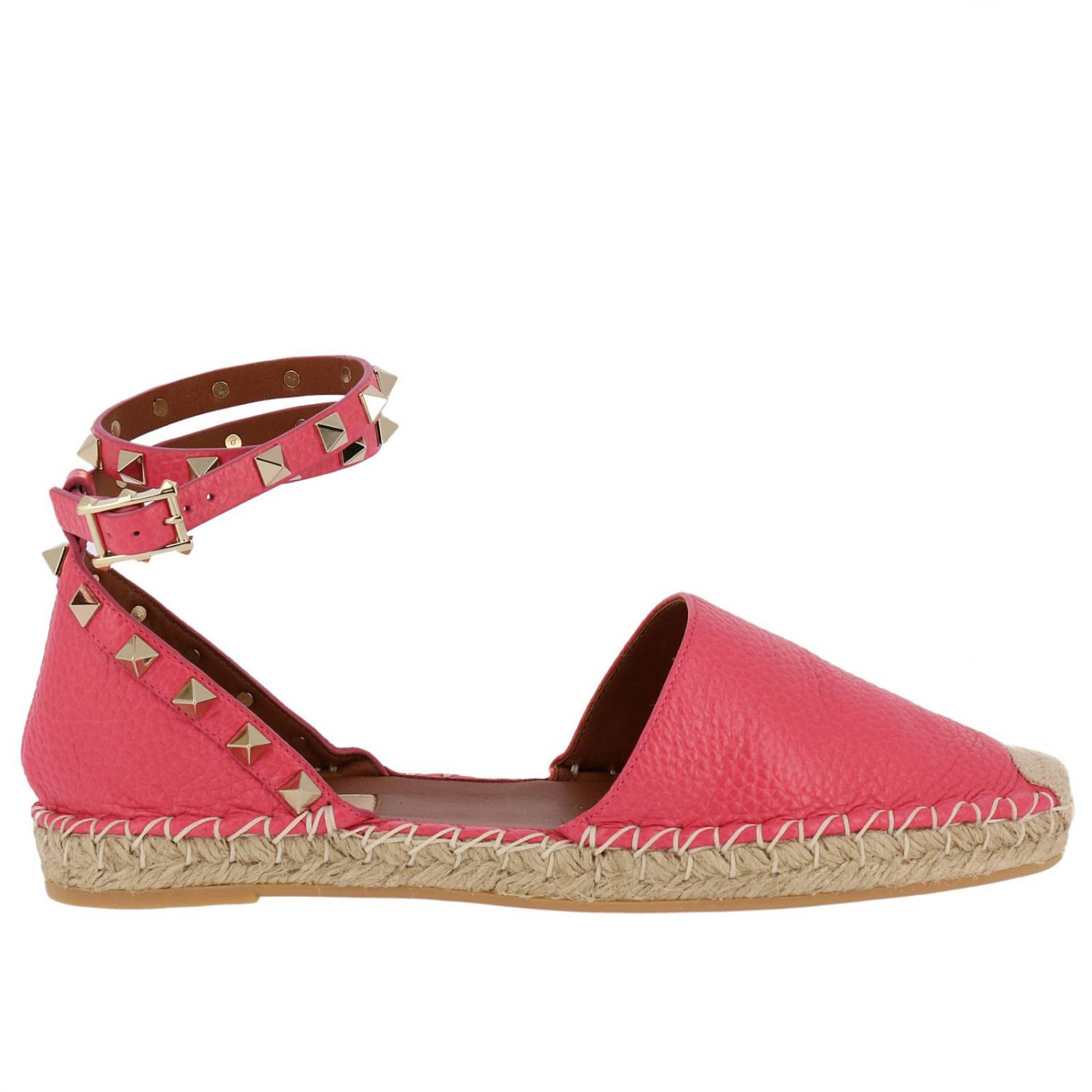 Flat Shoes Valentino Rockstud Spike Espadrilles In Hammered Leather With Metal Studs And Rope Sole 8286960