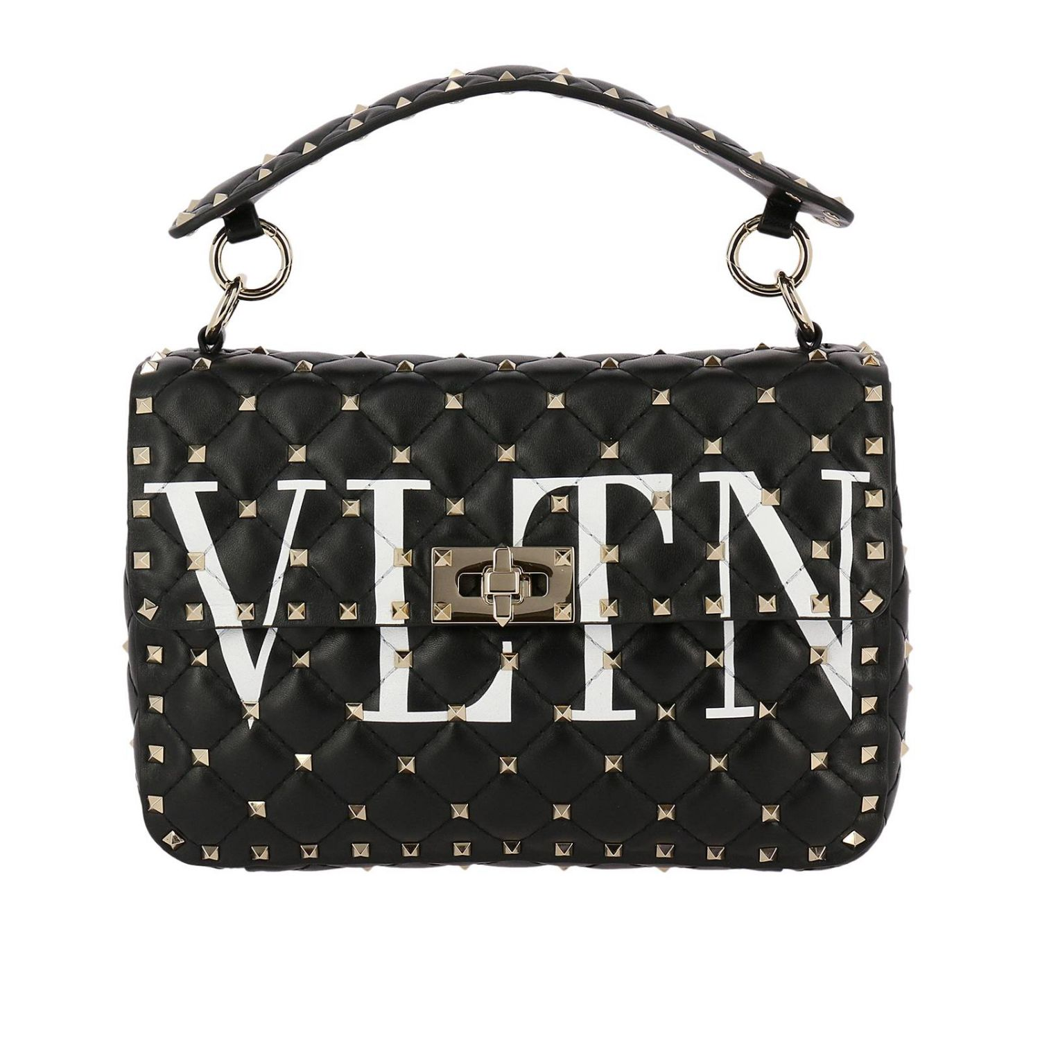 Handbag Valentino Rockstud Spike Bag In Genuine Leather With Micro Studs And Shoulder Strap 8287169