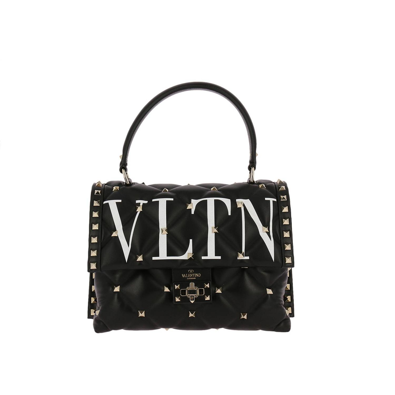 Handbag Valentino Candy Spike Bag In Genuine Quilted Leather With Micro Metal Studs And Valentino Print 8287173