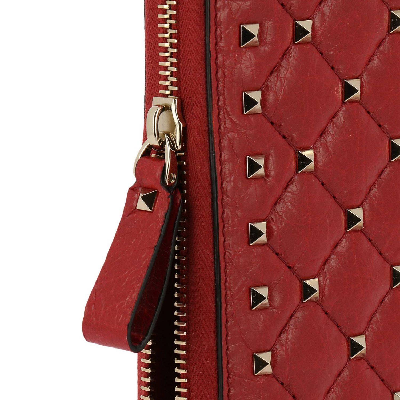 Valentino Garavani Rockstud Spike金属铆钉菱形图案拉链式真皮钱包 红色 3