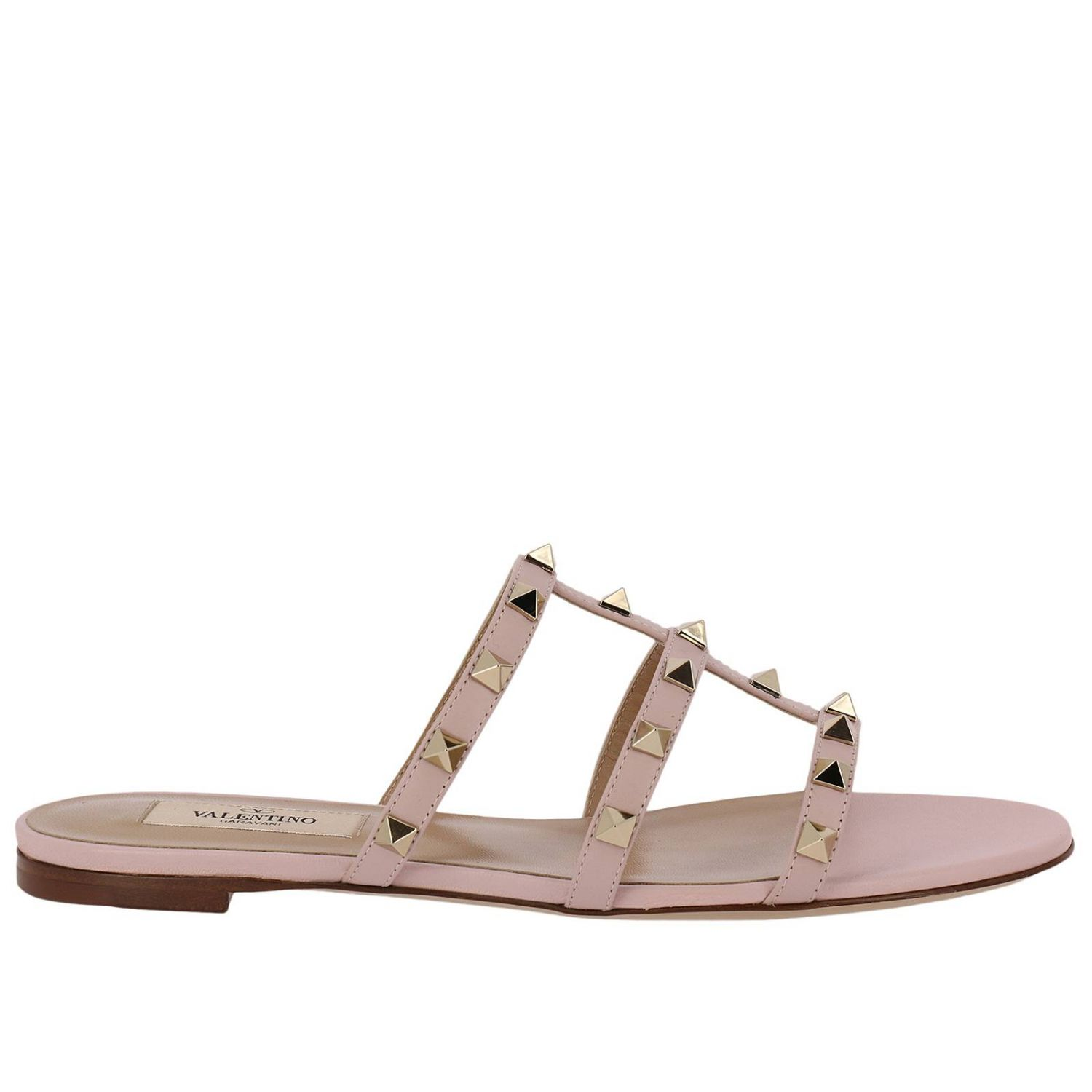Flat Sandals Valentino Rockstud Sandal Flats In Genuine Laminated Leather With Metal Studs 8287274