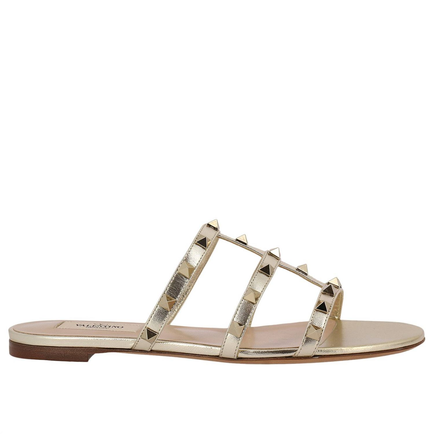 Flat Sandals Valentino Rockstud Sandal Flats In Genuine Laminated Leather With Metal Studs 8287285