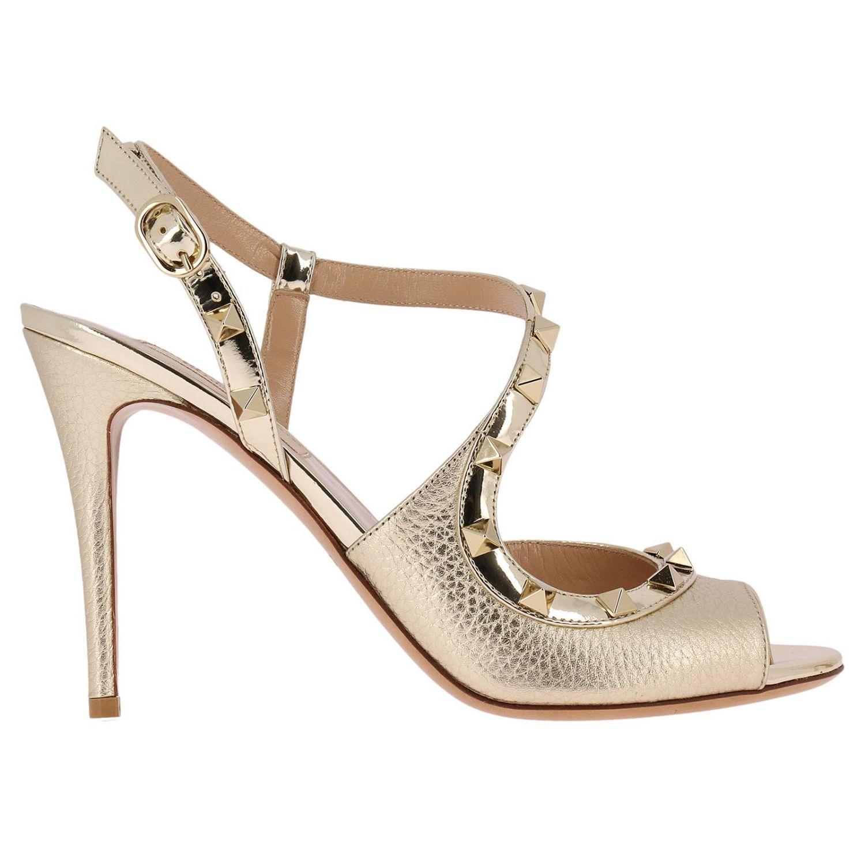 Heeled Sandals Valentino Rockstud Slingback Heels Peep-toe In Genuine Laminated Leather With Metal Studs 8287313