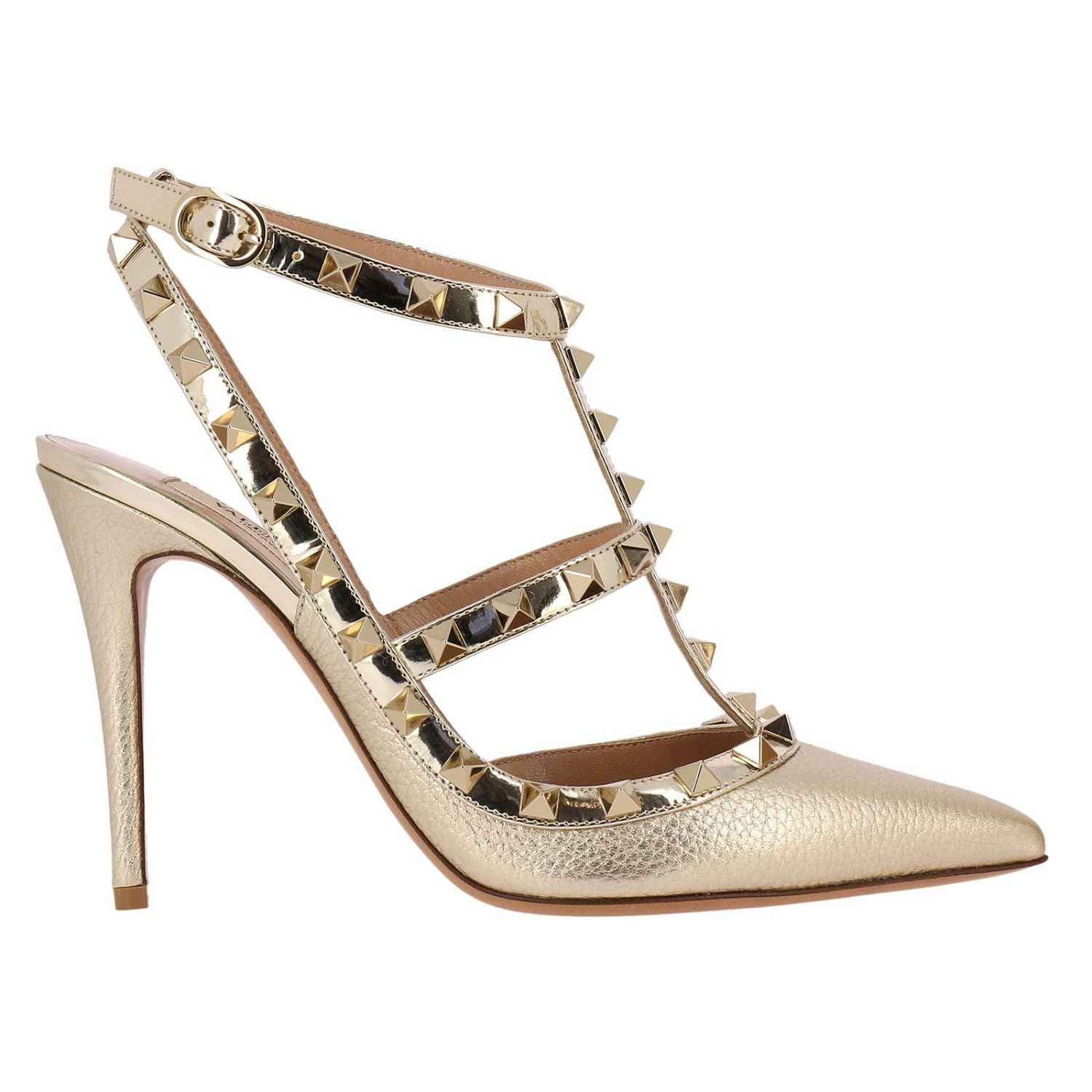 Pumps Valentino Rockstud Pumps With Ankle Atrap In Genuine Laminated Leather With Micro Metal Studs 8287319