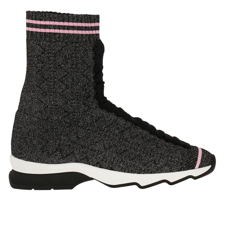 Sneakers rockoko a calzino alto con effetto lurex e lacci nero 1