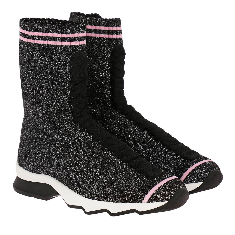 Sneakers rockoko a calzino alto con effetto lurex e lacci nero 2