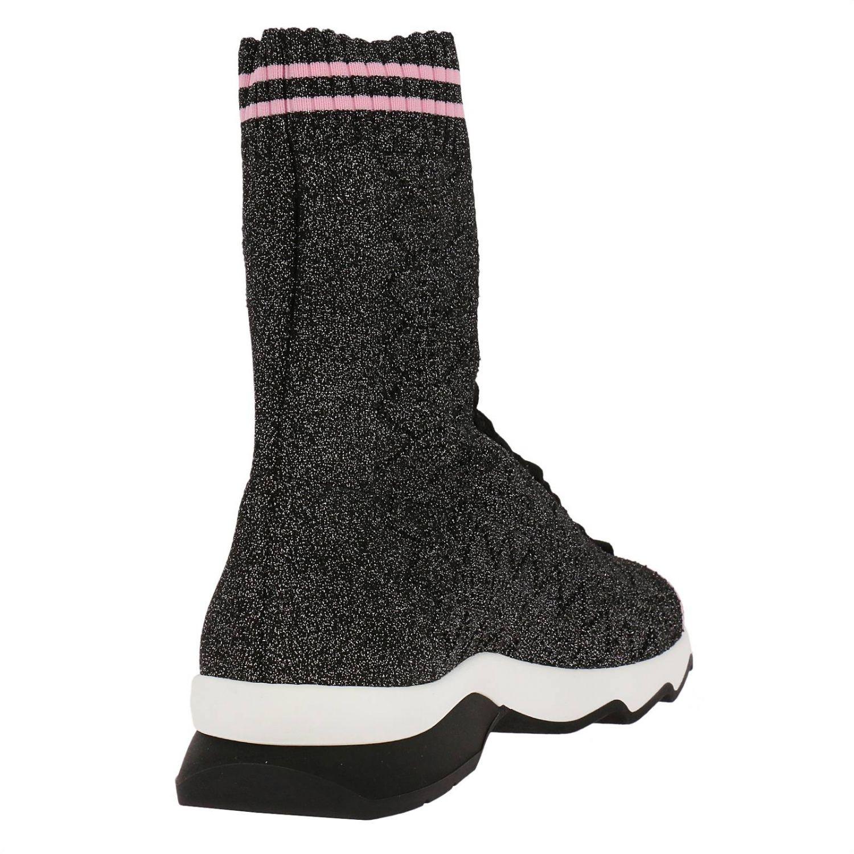 Sneakers rockoko a calzino alto con effetto lurex e lacci nero 4