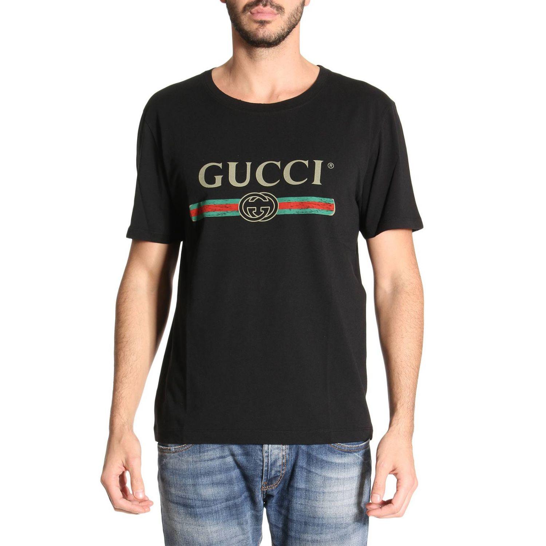 T-shirt Gucci: T-shirt in puro cotone con stampa Classic Gucci nero 1