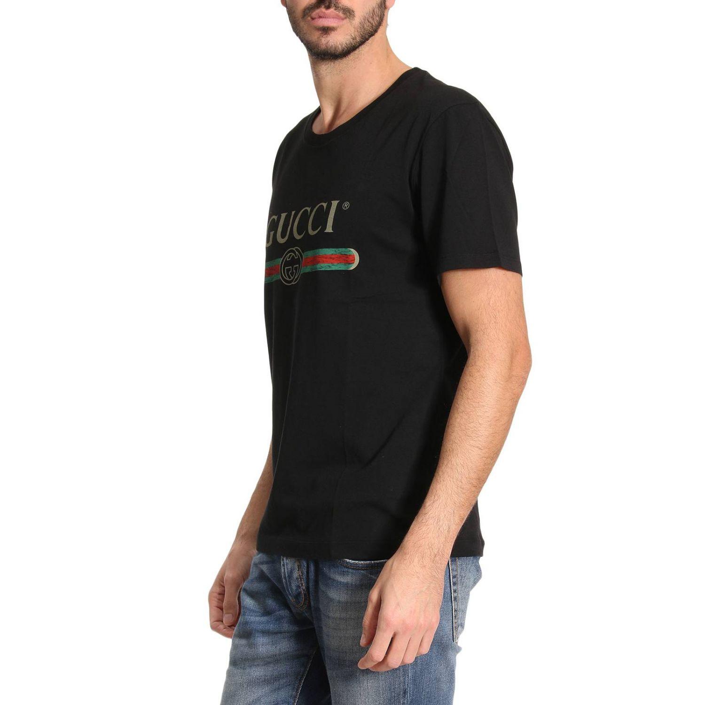 T-shirt Gucci: T-shirt in puro cotone con stampa Classic Gucci nero 2
