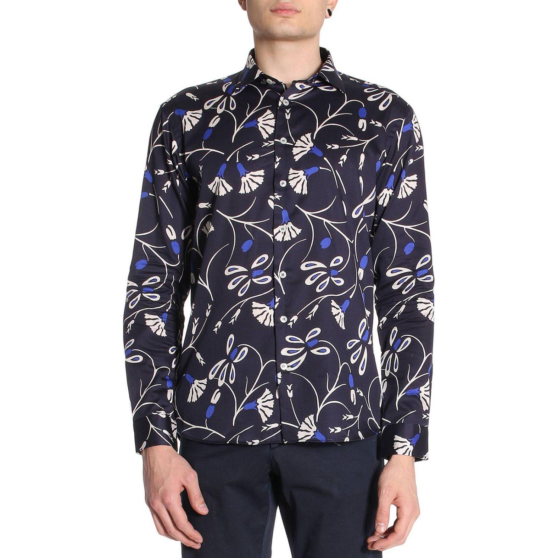 Camicia Merlino in cotone con stampa floreale blue 1