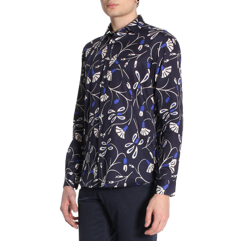 Camicia Merlino in cotone con stampa floreale blue 2