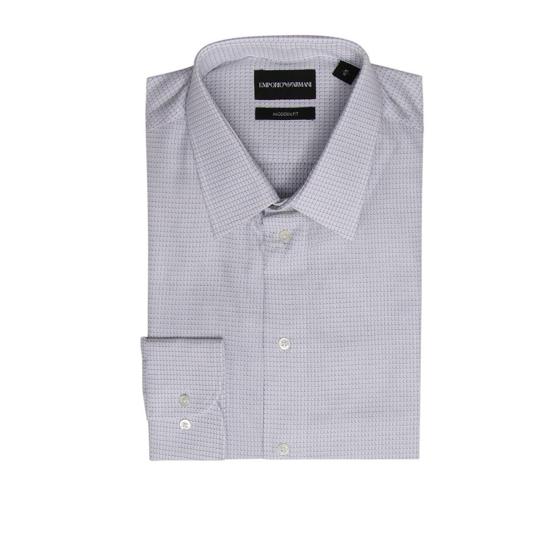 Camicia in cotone a micro fantasia modern fit con collo italiano bianco 1