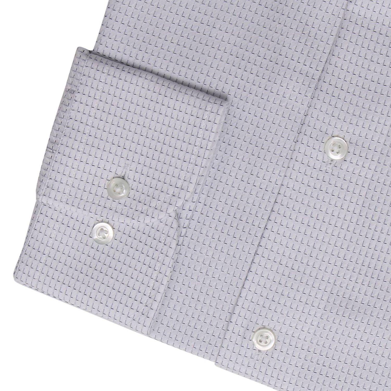 Camicia in cotone a micro fantasia modern fit con collo italiano bianco 2