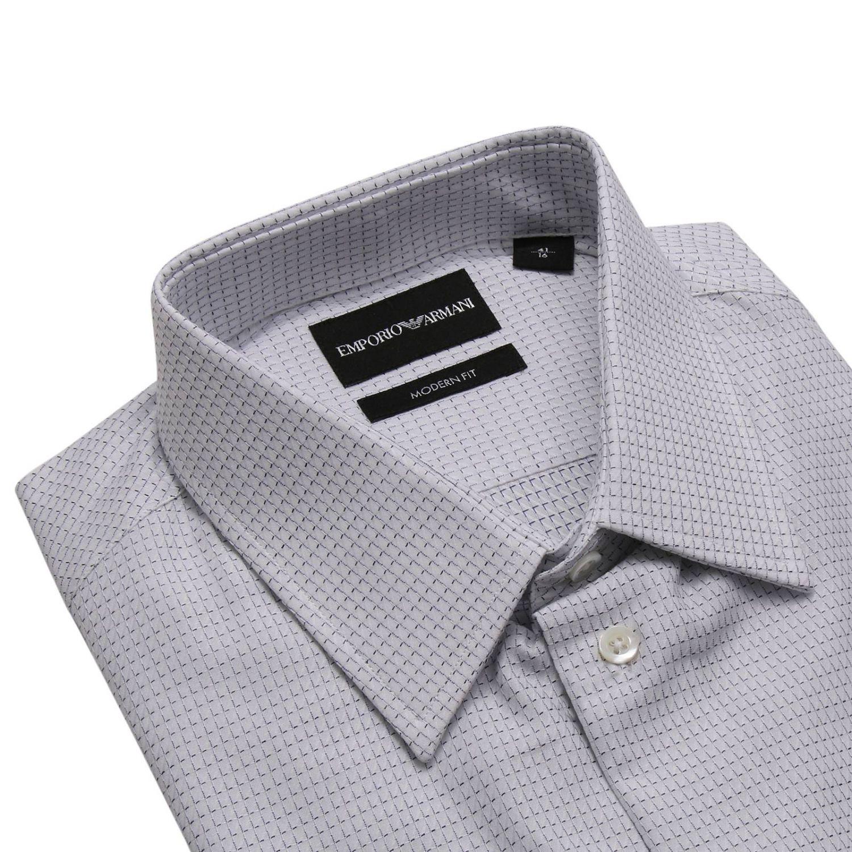 Camicia in cotone a micro fantasia modern fit con collo italiano bianco 3