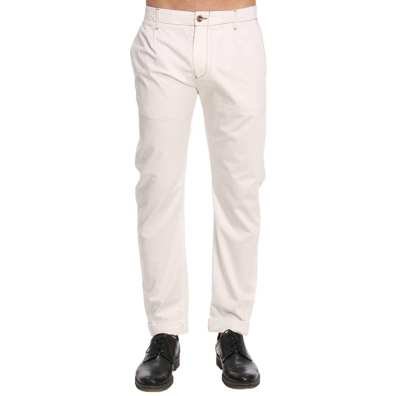 Pantalone in cotone con tasche america bianco 1