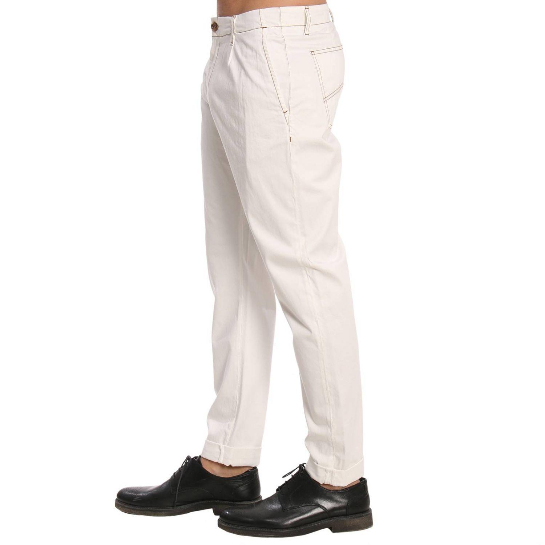 Pantalone in cotone con tasche america bianco 2
