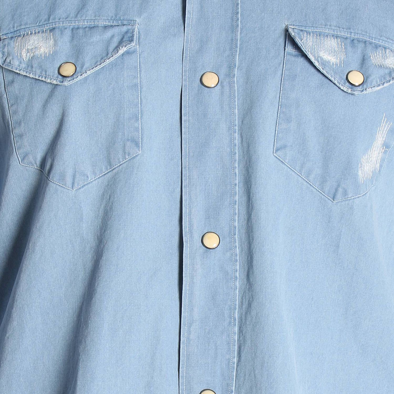 Camicia effetto denim con collo francese tasche a toppe e micro rotture denim 4