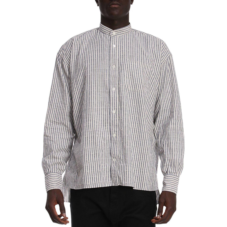 Camicia platinum over in lino con collo alla coreana e motivo a righe blue 1