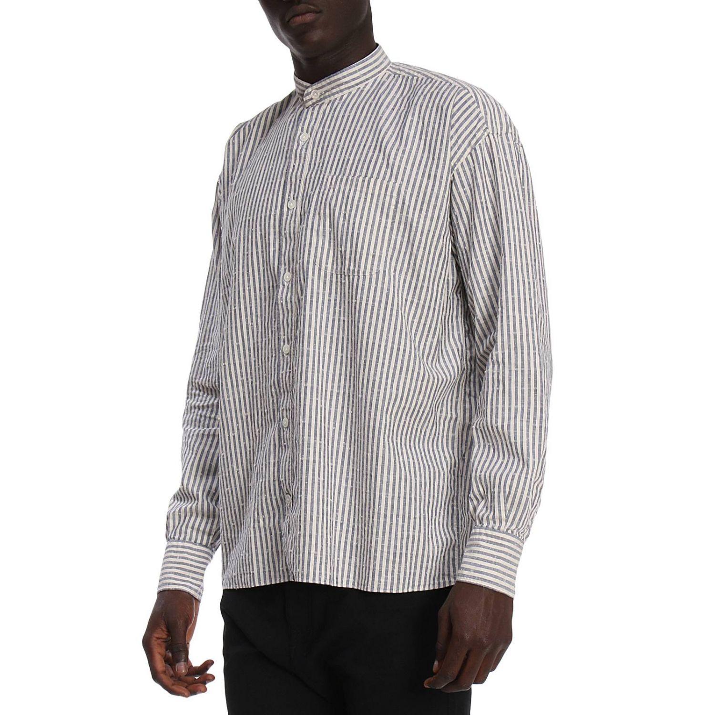 Camicia platinum over in lino con collo alla coreana e motivo a righe blue 2