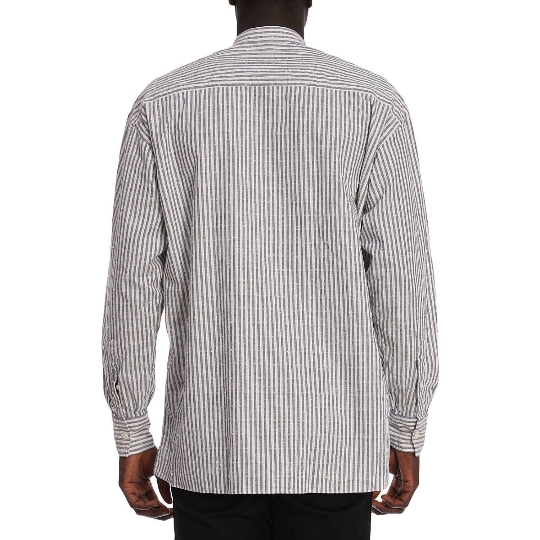 Camicia platinum over in lino con collo alla coreana e motivo a righe blue 3
