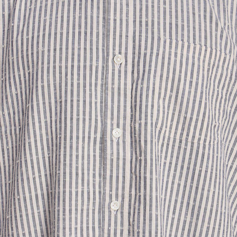 Camicia platinum over in lino con collo alla coreana e motivo a righe blue 4