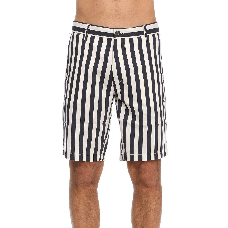 Pantalone Eleventy: Bermuda in cotone e lino a righe con tasche america blue 1