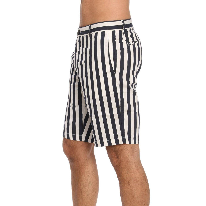 Pantalone Eleventy: Bermuda in cotone e lino a righe con tasche america blue 2