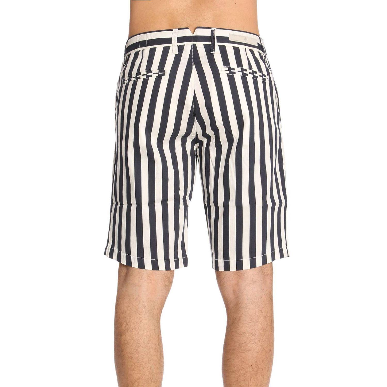 Pantalone Eleventy: Bermuda in cotone e lino a righe con tasche america blue 3