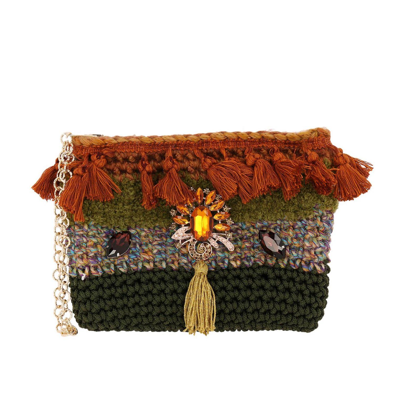 Borsa mini Lia's Bag: Borsa mini in maglia con strass e nappe militare 1