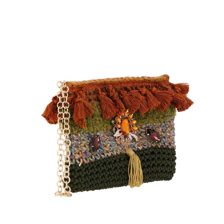 Borsa mini Lia's Bag: Borsa mini in maglia con strass e nappe militare 2