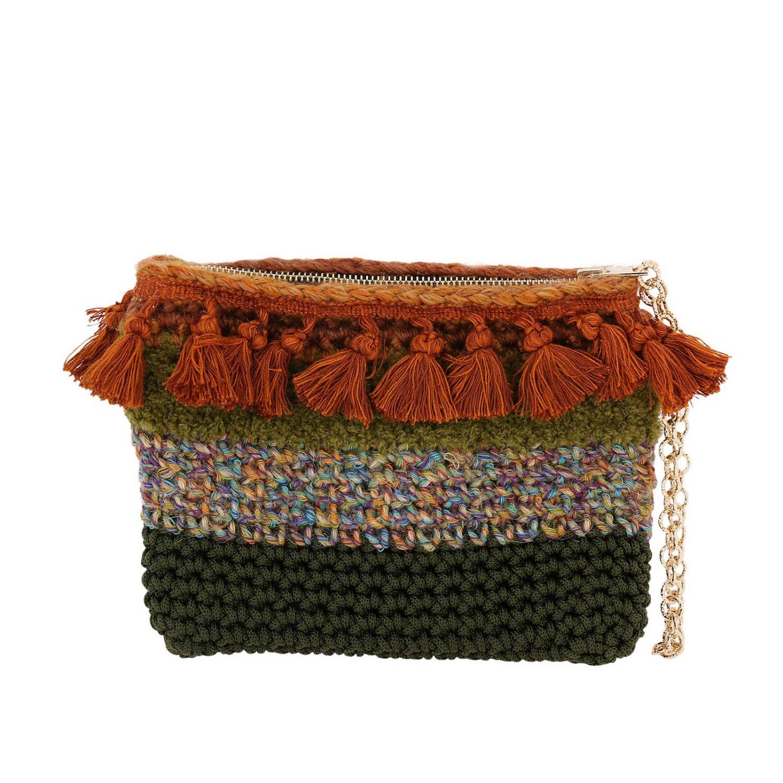 Borsa mini Lia's Bag: Borsa mini in maglia con strass e nappe militare 3