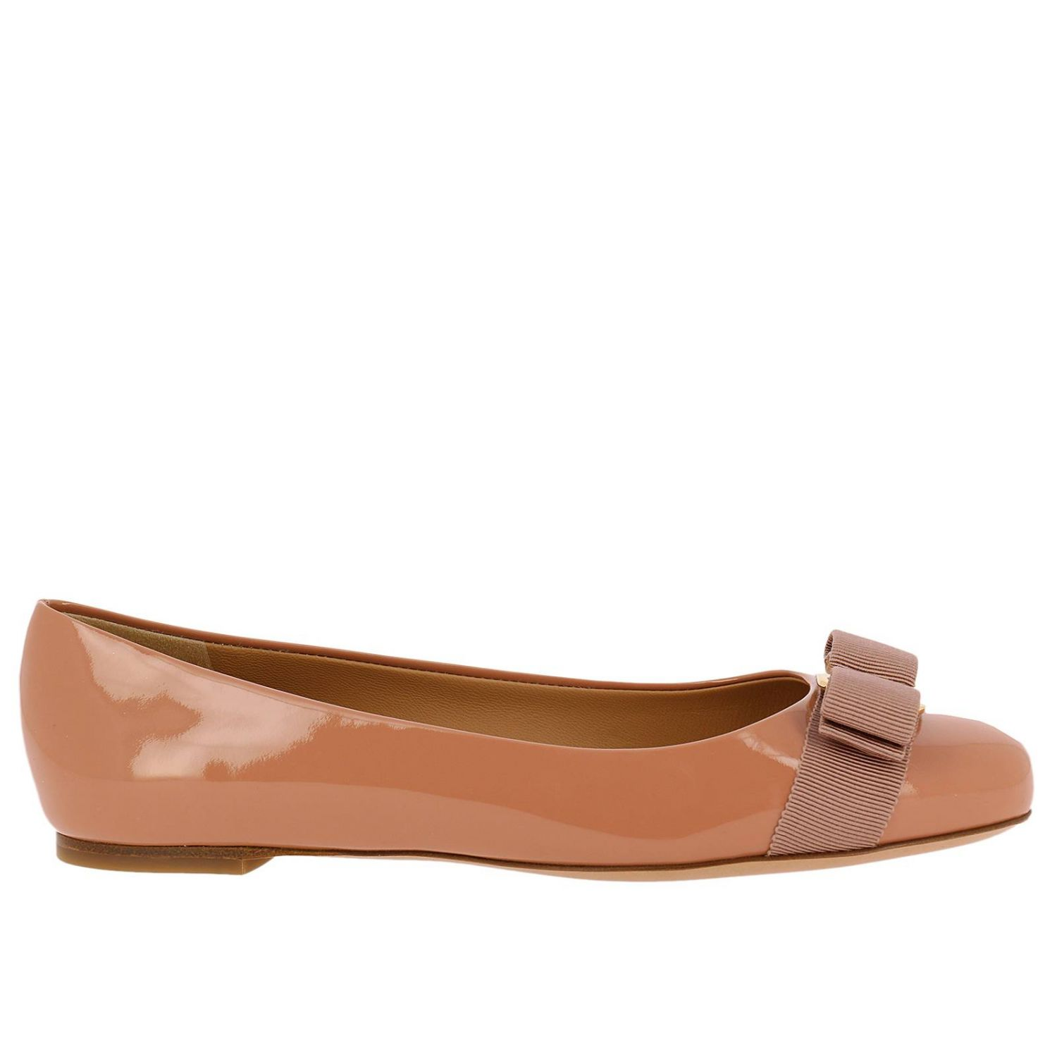 Ballet flats Salvatore Ferragamo: Varina ballet flats in patent leather with Vara gros grain bow blush pink 1