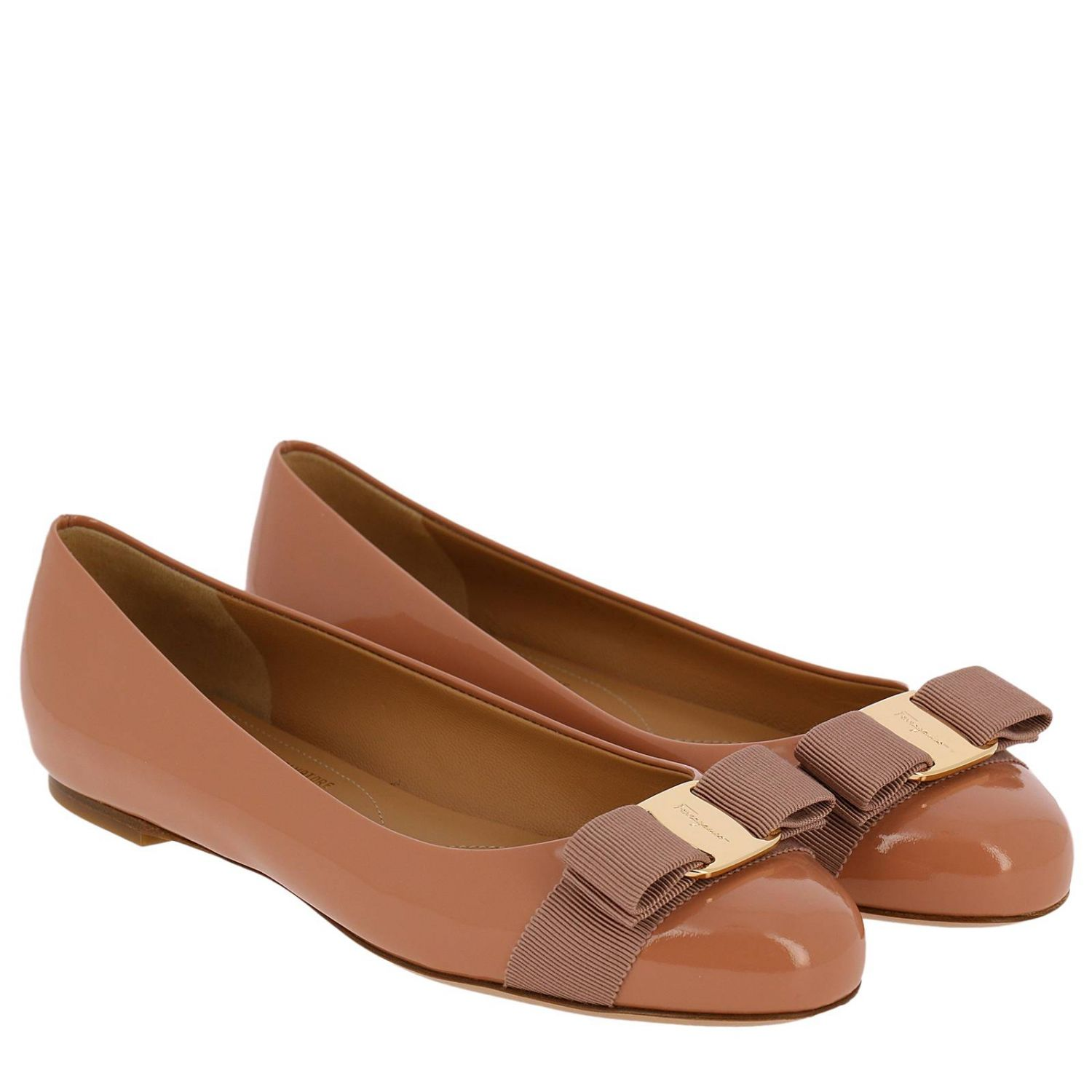 Ballet flats Salvatore Ferragamo: Varina ballet flats in patent leather with Vara gros grain bow blush pink 2