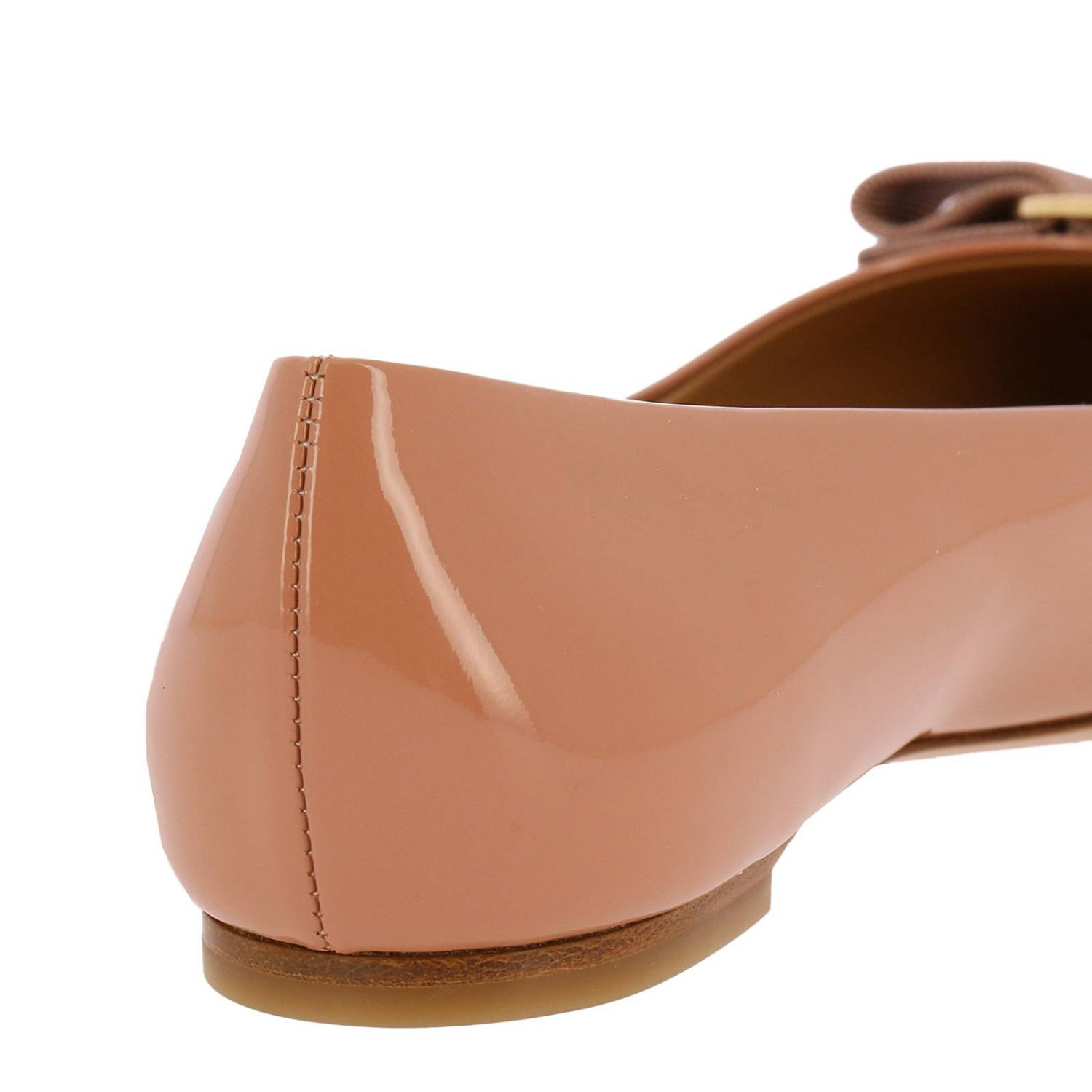 Ballet flats Salvatore Ferragamo: Varina ballet flats in patent leather with Vara gros grain bow blush pink 4