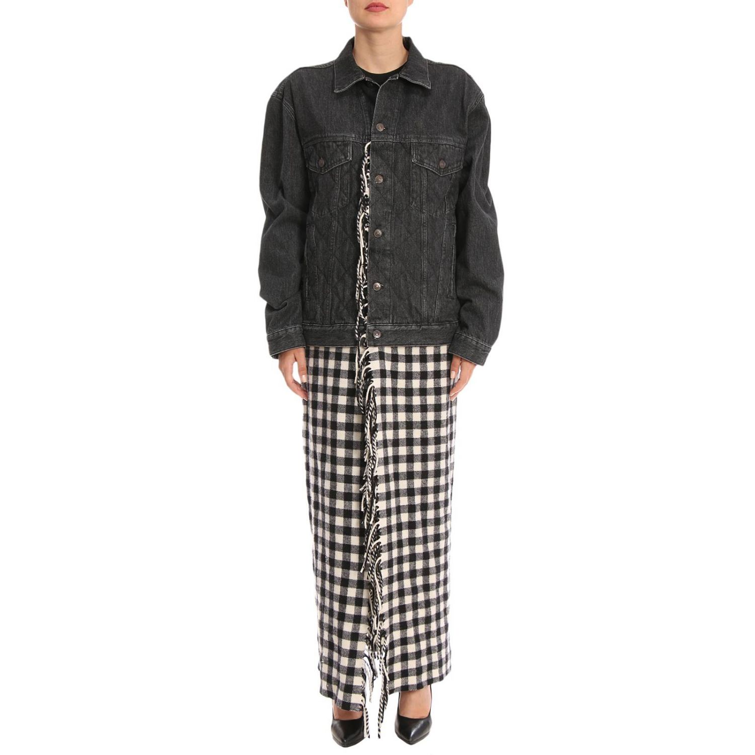 Giubbotto in denim over con maxi plaid check in stile coperta nero 1