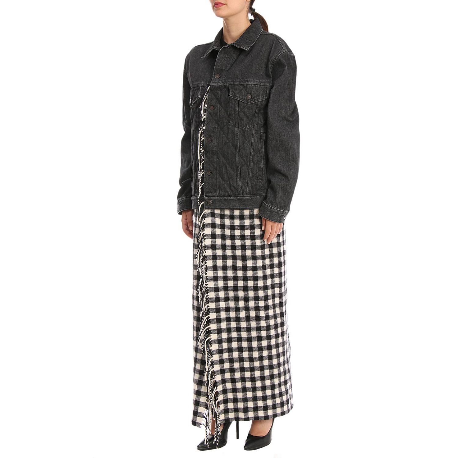 Giubbotto in denim over con maxi plaid check in stile coperta nero 2