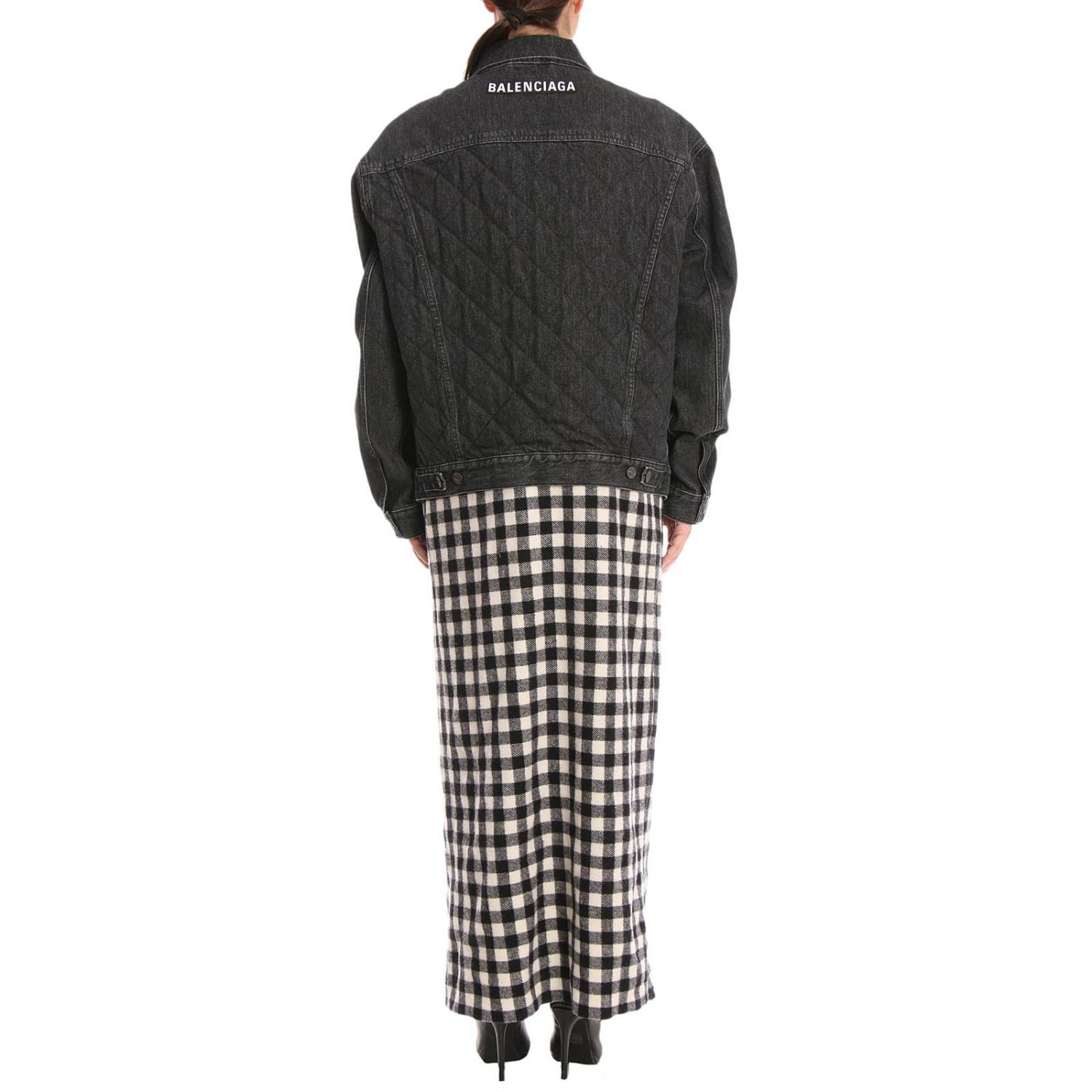 Giubbotto in denim over con maxi plaid check in stile coperta nero 3