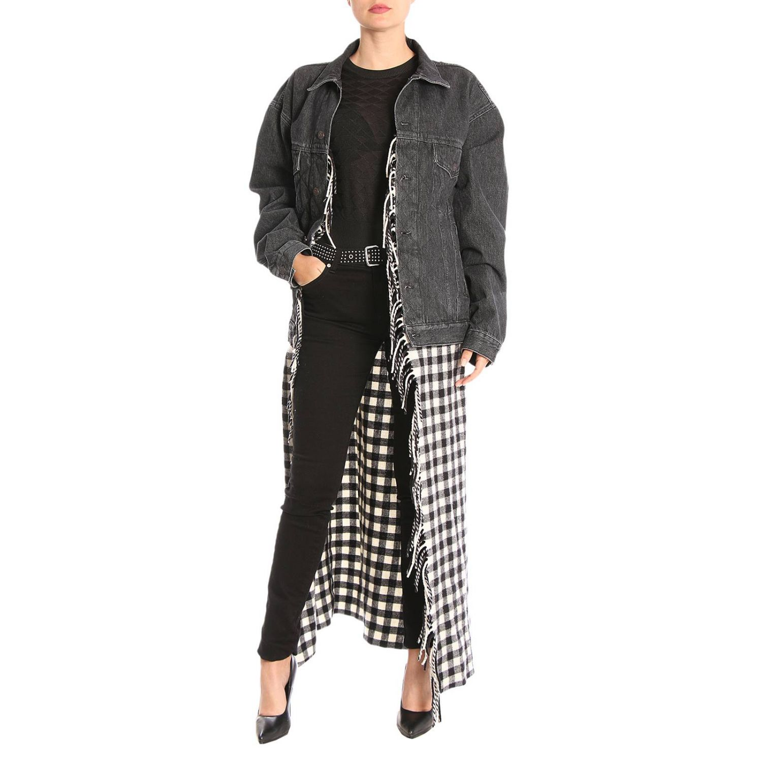 Giubbotto in denim over con maxi plaid check in stile coperta nero 5