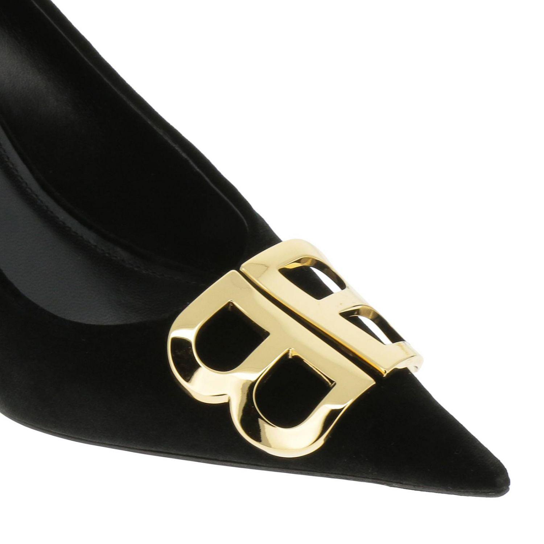 Sandalo BB flat in velluto a punta nero 3